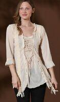 PRETTY ANGEL SHIRT blouse TUNIC Vintage gypsy RUFFLES LACE S M L XL XXL caramel