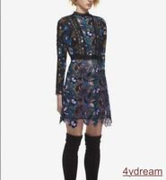 Occident Women's Hollow Out Floral Pattern Cotton Chiffon Long Sleeve Lace Dress