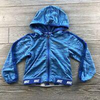 Toddler 24 Month Nike Dri Fit Hoodie Lightweight Full Zip Jacket Blue