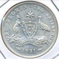 Australia 1931 Florin 2/- George V (Silver) - Extra Fine