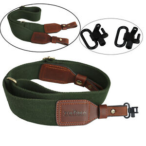 "Tourbon Gun Sling Rifle/Shotgun Strap Green Webbing Leather + 1"" Mount Swivels"