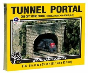 NEW Woodland HO Train Scenery Cut Stone Double Tunnel Portal C1257