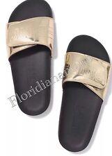 New Victorias Secret PINK Gold Slippers Slides Flip Flops Sandals Big M 7-8 NIP
