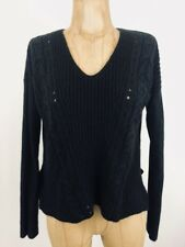 Converse One Star Pullover Sweater V-Neck Crop Long Sleeve Womens Sz Small Black