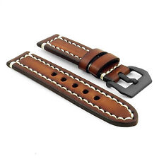 StrapsCo Vintage Leather Watch Band Contrast Stitching w/ Black Pre-V Buckle