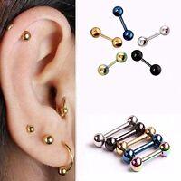 1 Pair Women Men Titanium Steel Ball Ear Stud Cartilage Barbell Earring Piercing
