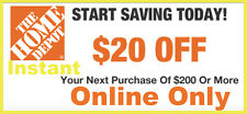 TWO 2x Home Depot Coupon $20 OFF $200 [Online-Use Only] ~ lNSTANT~FAST~SENT-1MlN