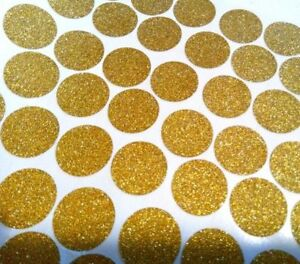 1'' gold GLITTER polka dots nursery decor stickers circle decals removable