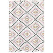 Sweet Jojo Designs Pink Grey Gold Aztec Kids Bathroom Fabric Bath Shower Curtain