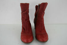 EL NATURA LISTA Red Leather Wedge Boots size Eu 40