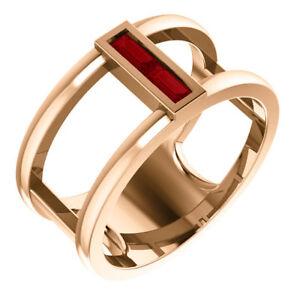 Genuine Ruby Baguette Negative Space Ring In 14K Rose Gold