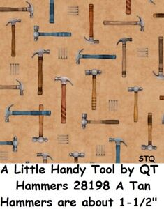 A Little Handy Tool cotton Quilt fabric by QT Hammers & Nails 28198 A Tan