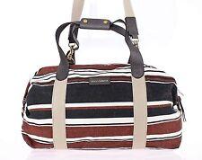 NEW $1300 DOLCE & GABBANA Bag Brown Black Linen Leather Travel Gym Hand Shoulder