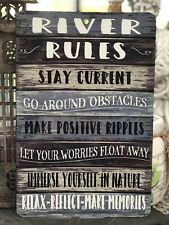 River Rules - Metal Sign - Lake Sign - Home Decor - River Advice -