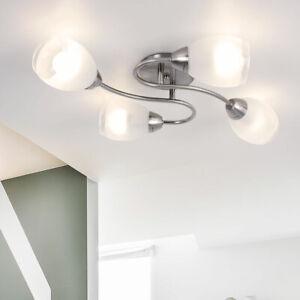 Decken Leuchte Schlaf Gäste Zimmer Beleuchtung Chrom Lampe Glas Kugel Strahler