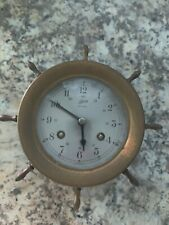 Vintage Schatz & Sohne Ships Bell Clock 8 Day 7 Jewels Brass - Germany