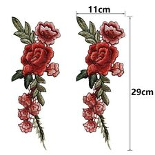 2X Rose Flower Applique Badge Embroidered Floral Collar Sew Patches Bust Craft L