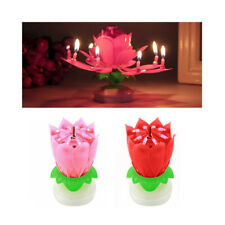 1 X Musical Birthday Candle Lotus Flower Rotating Spin Magic Cake Topper Party
