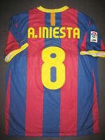 2010-2011 Nike Authentic FC Barcelona FCB Jersey Shirt Kit Andres Iniesta Spain