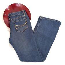 Aeropostale Womens Jeans Size 3/4 Short Dark Low Rise Boot Cut Orange Stitch 551