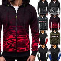 Men's Winter Warm Hoodie Hooded Blouse Camouflage Sweatshirt Pullover Coat Tops