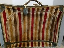 """Vintage FRENCH CALIFORNIA Velvet and Leather 20"""" Suitcase Luggage Bag Travel"""