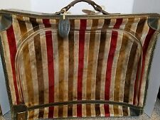 "Vintage FRENCH CALIFORNIA Velvet and Leather 20"" Suitcase Luggage Bag Travel"