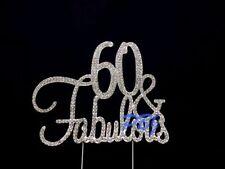60 & Fabulous SILVER Cake Topper Birthday Party Decor Rhinestone Crystal