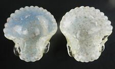 Mid-Century Murano Venetian Gold Fleck GLASS SHELL DISHES Controlled Bubbles T01