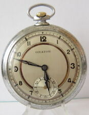 "Pocket Watch Swiss,Serviced # 351 Antique Rare Wwii Era""Orator""Open Face Men'S"