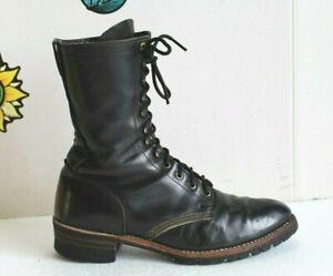 Vintage Men's Ranch Work Boots Black Leather Lace Up, US Men Size 8.5 EE