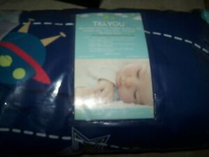 TILLYOU 5 Pieces Microfiber Toddler Bedding Set (Quilted Comforter, Fitted BOY
