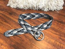 Vintage M/L Black, Gray, Metallic Silver BoHo Hippie CHIC Woven Leather Belt