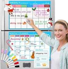 Set Of 3 Refrigerator Magnetic Dry Erase Calendars Monthlyweeklydaily With Pens