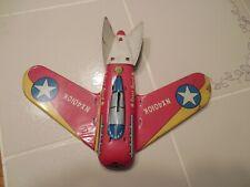 "Ohio Art Coast Guard Airplane Jet, Tin, 1950s 1960s, 10"" Wingspan Old Metal Toy"