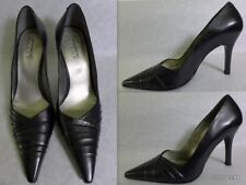 ANDREA Black  Leather Pointed toe Drape detail Pump Shoes  Size 8 US