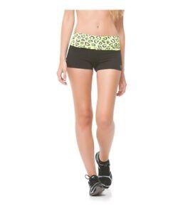 Aeropostale Womens Animal Yoga Athletic Workout Shorts, Yellow, X-Small
