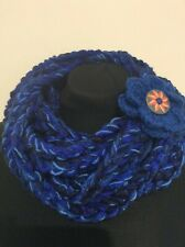 Extra long Crocheted Multistranded Scarf Necklace with Brooch Royal Blue Y109