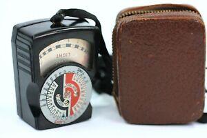 Vintage DeJur Amsco Exposure Light Meter Black Bakelite Pigskin Case Working