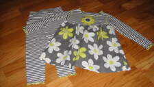 Boutique Mis Tee V-Us 3T Gray Yellow Floral Top Legging Set