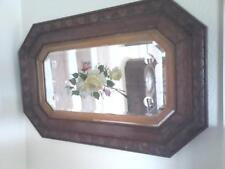 Vintage heavy plate glass bevelled mirror in Oak frame with yellow and pink rose