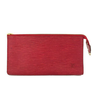 Louis Vuitton Epi Pochette Red Leather Accessories Pouch Hand Bag /B2346