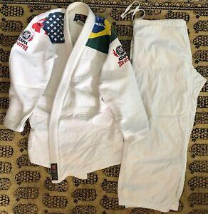 Vintage Atama Jiu-Jitsu Kimono Training Gi USA/Brazilian Flag A3 White