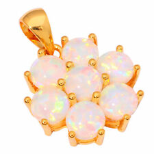 White Fire Opal Silver Yellow Gold Filled Women Jewelry Gemstone Pendant OD6060