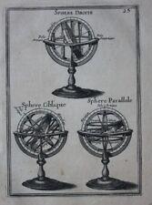 Antiguo Original impresión Astrolabio esferas, Alain Manesson Mallet, 1683