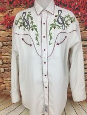 Panhandle Slim Mens Retro Western White Pearl Snap Shirt Embroidered Music XL