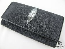 PELGIO Real Genuine Stingray Skin Leather Women's Clutch Wallet Long Purse Black