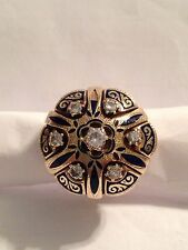 LADIES YELLOW GOLD VICTORIAN ENAMEL AND DIAMOND RING 0.56 CARAT TOTALWEIGHT