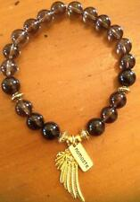 ॐCrystal Blissॐ Smoky Quartz Spiritual Bracelet w Angel Wings and Namaste Charms