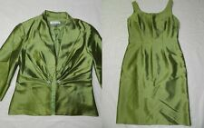 WOMENS GREEN DRESS & JACKET SET SUIT = COLDWATER CREEK  SIZE P6 petite = ss11